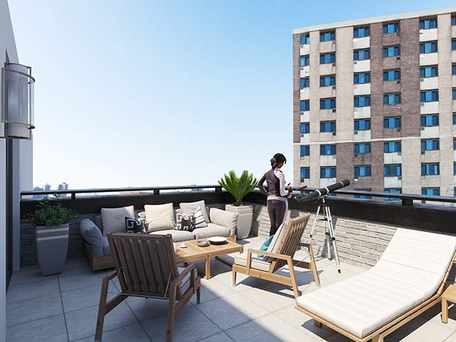 The Grand's affordable luxury, terrace 2, thorobird nyc