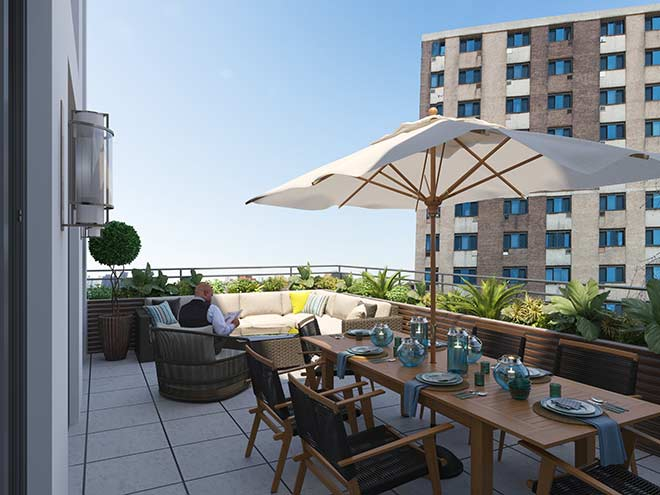 The Grand's affordable luxury, terrace 1, thorobird nyc